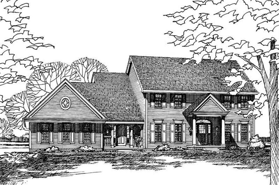 Front Elevation of this 4-Bedroom,2879 Sq Ft Plan -2879