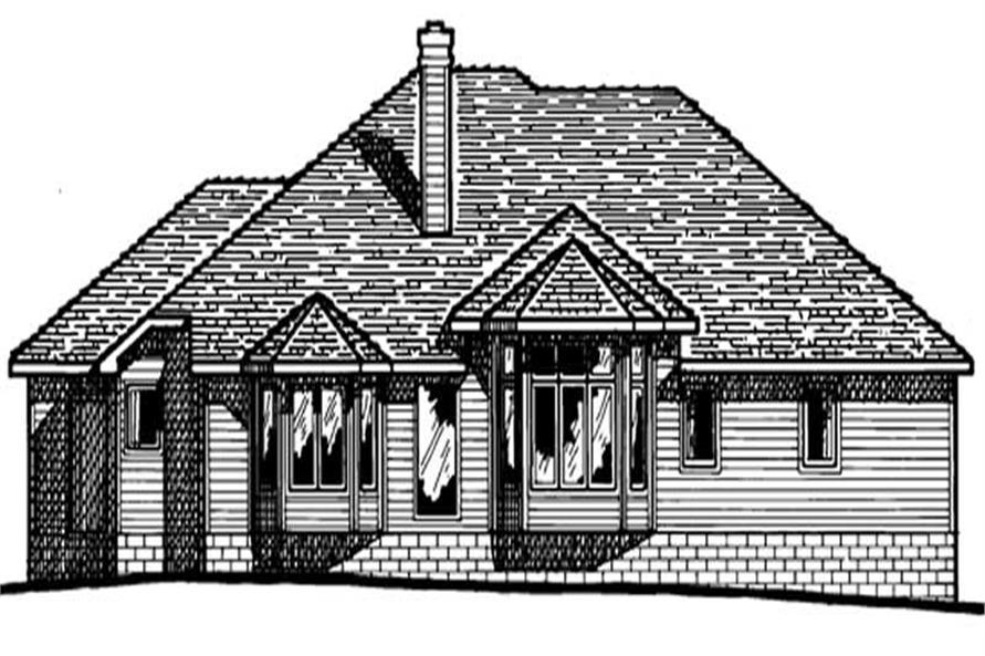 Home Plan Rear Elevation of this 3-Bedroom,1808 Sq Ft Plan -120-1739