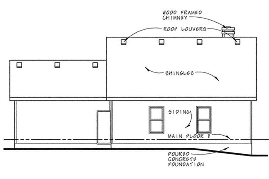 Home Plan Rear Elevation of this 2-Bedroom,1190 Sq Ft Plan -120-1756