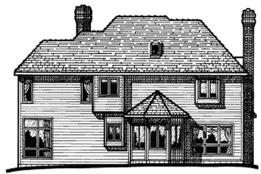 Home Plan Rear Elevation of this 4-Bedroom,3160 Sq Ft Plan -120-1757