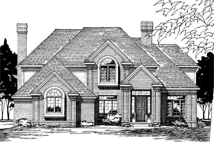 4-Bedroom, 3160 Sq Ft Traditional House Plan - 120-1757 - Front Exterior