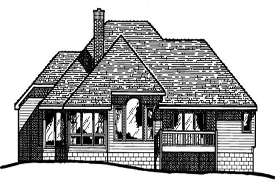 Home Plan Rear Elevation of this 3-Bedroom,2068 Sq Ft Plan -120-1761