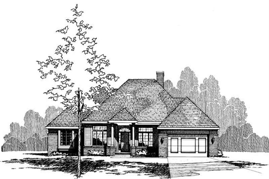 Front Elevation of this 3-Bedroom,2068 Sq Ft Plan -2068