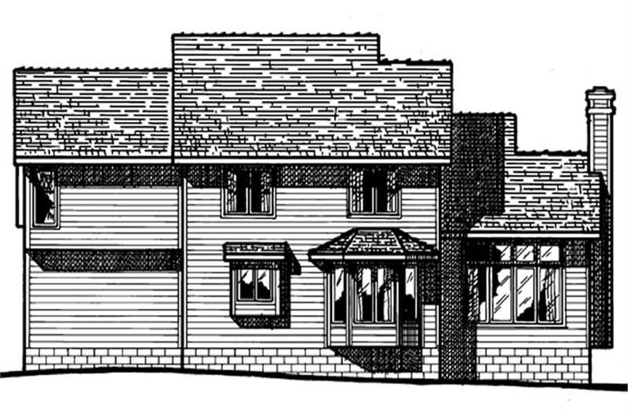 Home Plan Rear Elevation of this 4-Bedroom,1931 Sq Ft Plan -120-1768