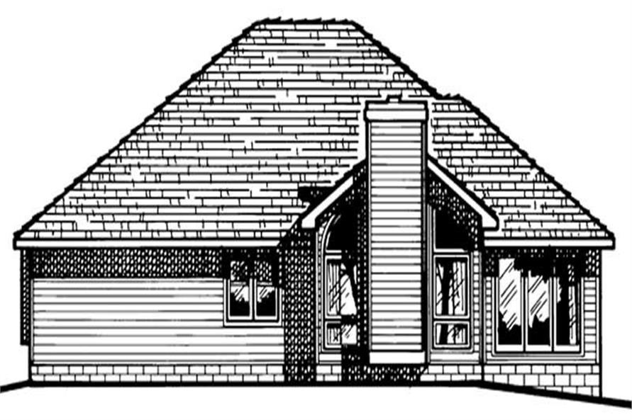 Home Plan Rear Elevation of this 3-Bedroom,1554 Sq Ft Plan -120-1788