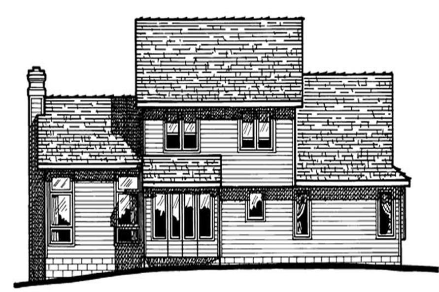 Home Plan Rear Elevation of this 3-Bedroom,1596 Sq Ft Plan -120-1789