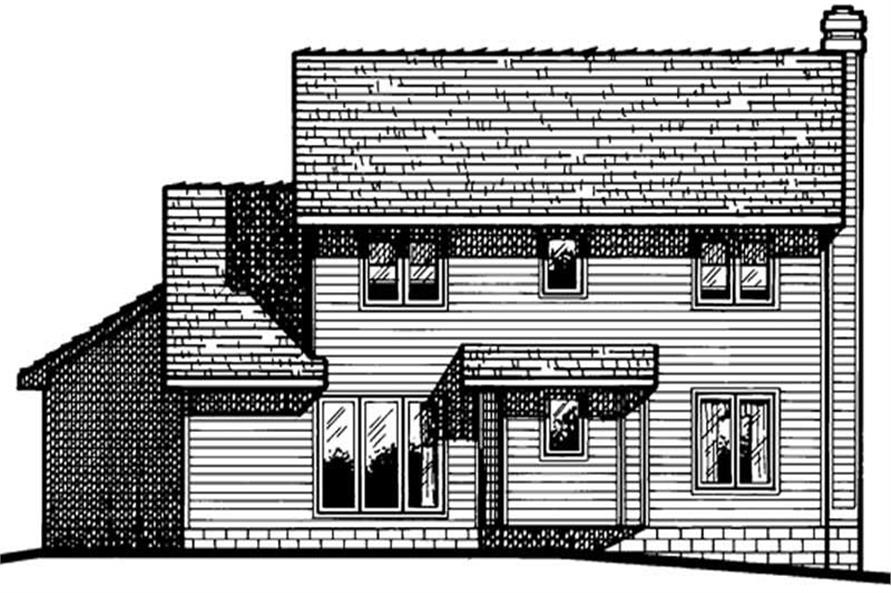 Home Plan Rear Elevation of this 3-Bedroom,1700 Sq Ft Plan -120-1791