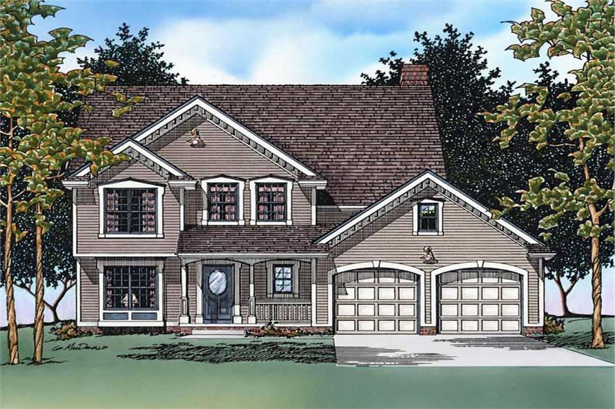 4-Bedroom, 2517 Sq Ft Traditional Home Plan - 120-1792 - Main Exterior