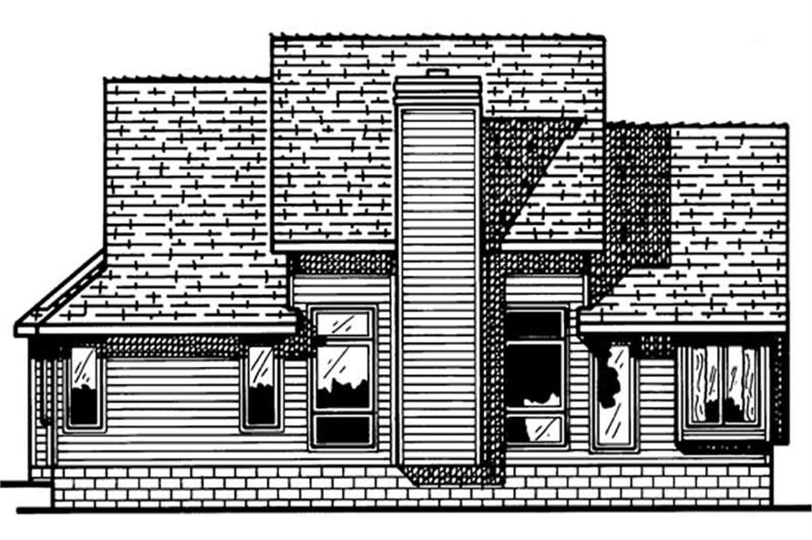 Home Plan Rear Elevation of this 3-Bedroom,1660 Sq Ft Plan -120-1803