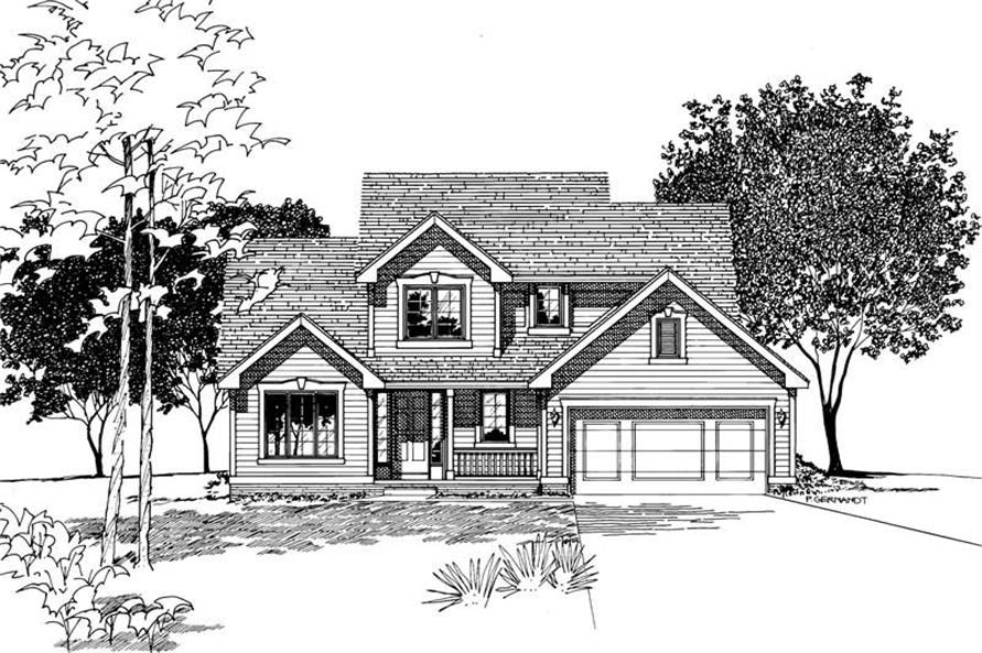 Front Elevation of this 3-Bedroom,1660 Sq Ft Plan -1660