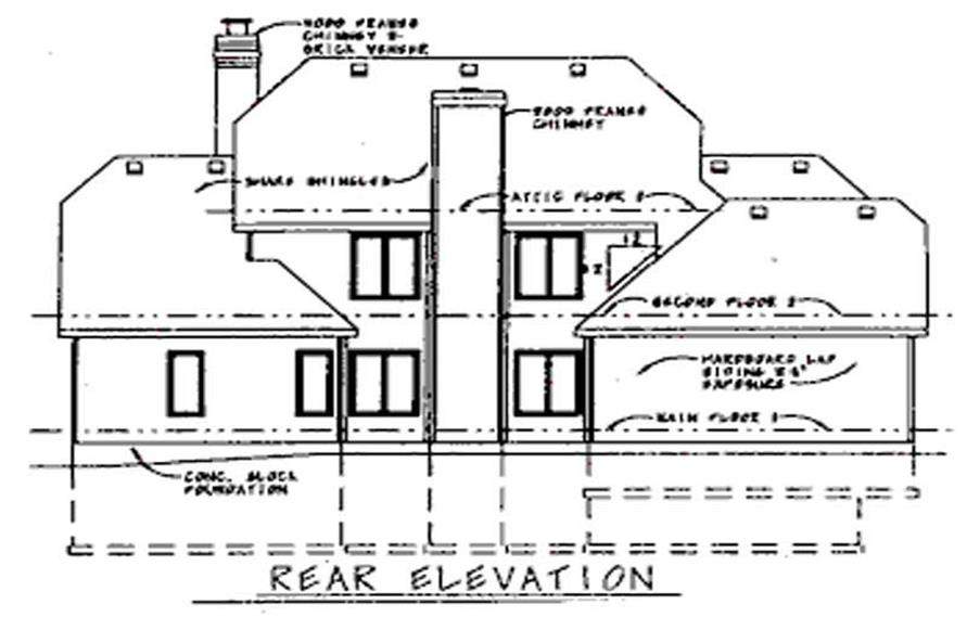 Home Plan Rear Elevation of this 4-Bedroom,2752 Sq Ft Plan -120-1807