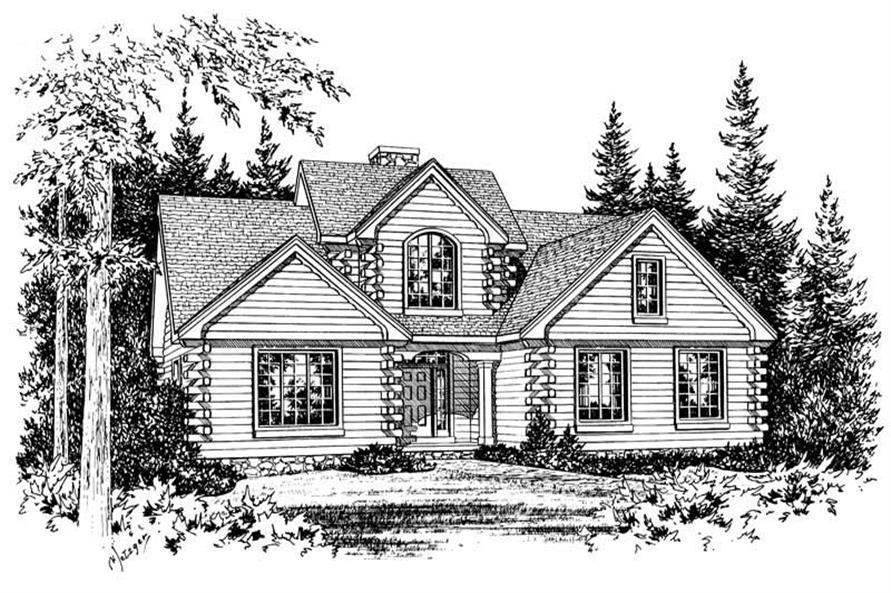 3-Bedroom, 2516 Sq Ft Log Cabin House Plan - 120-1829 - Front Exterior