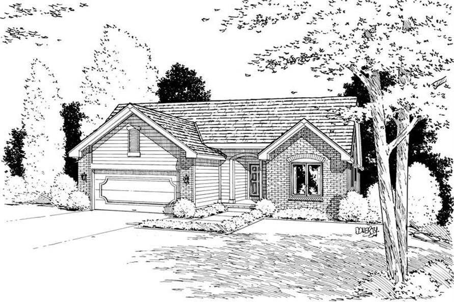 Home Plan Rendering of this 3-Bedroom,1392 Sq Ft Plan -120-1831