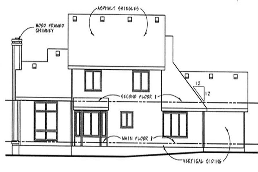 Home Plan Rear Elevation of this 4-Bedroom,2266 Sq Ft Plan -120-1832
