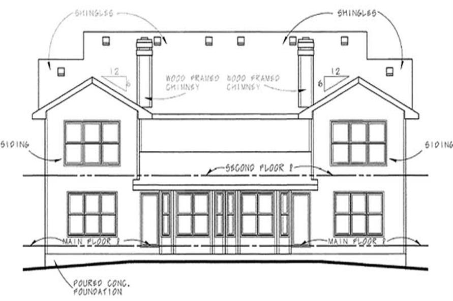 Home Plan Rear Elevation of this 3-Bedroom,1818 Sq Ft Plan -120-1833