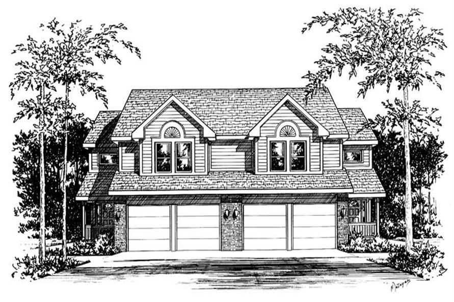 3-Bedroom, 1818 Sq Ft Multi-Unit Home Plan - 120-1833 - Main Exterior