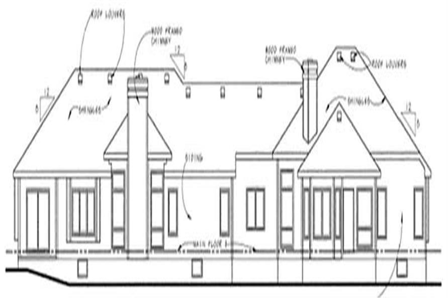 Home Plan Rear Elevation of this 3-Bedroom,1768 Sq Ft Plan -120-1834