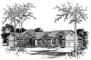 3-Bedroom, 1768 Sq Ft Multi-Unit Home Plan - 120-1834 - Main Exterior