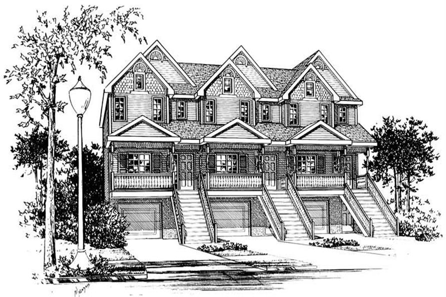 2-Bedroom, 1341 Sq Ft Multi-Unit House Plan - 120-1838 - Front Exterior