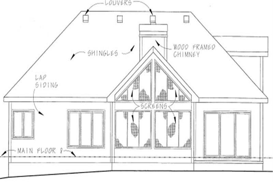 Home Plan Rear Elevation of this 2-Bedroom,1843 Sq Ft Plan -120-1839