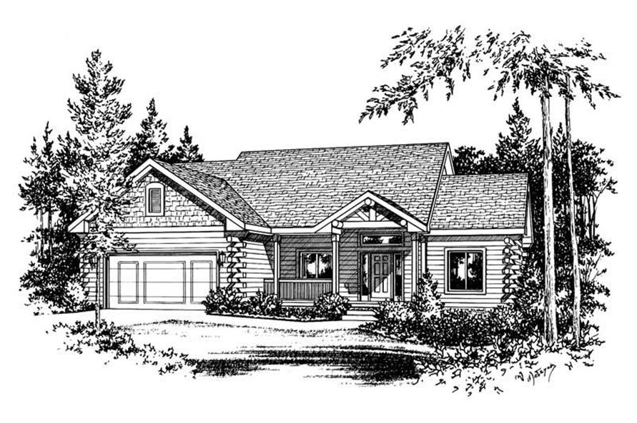 3-Bedroom, 1928 Sq Ft Log Cabin House Plan - 120-1841 - Front Exterior