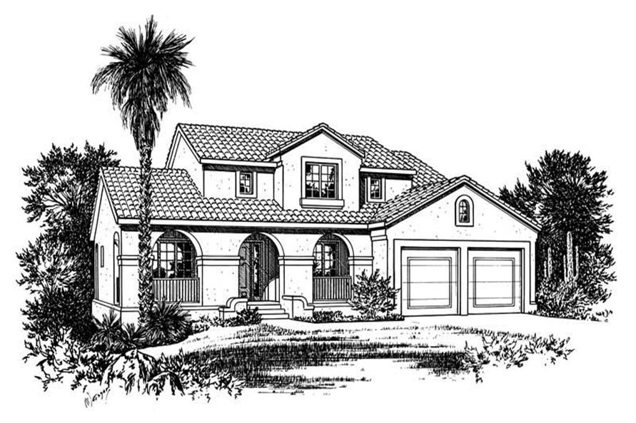 Front Elevation of this 4-Bedroom,2107 Sq Ft Plan -2107