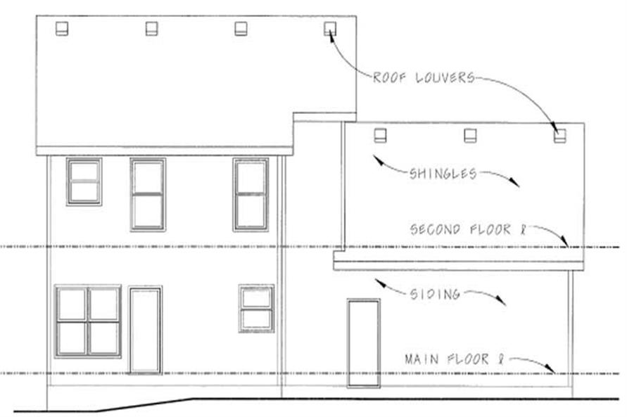 Home Plan Rear Elevation of this 3-Bedroom,1570 Sq Ft Plan -120-1848
