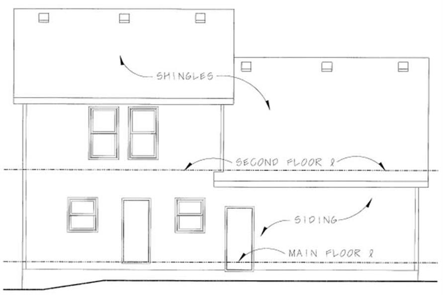 Home Plan Rear Elevation of this 3-Bedroom,1453 Sq Ft Plan -120-1849