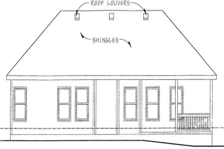 Home Plan Rear Elevation of this 3-Bedroom,1333 Sq Ft Plan -120-1852