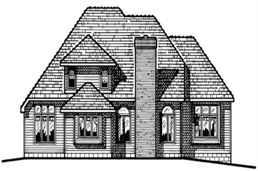 Home Plan Rear Elevation of this 4-Bedroom,2562 Sq Ft Plan -120-1858