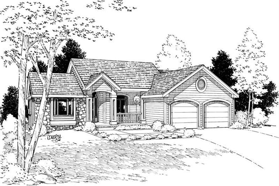 3-Bedroom, 1815 Sq Ft Ranch House Plan - 120-1876 - Front Exterior