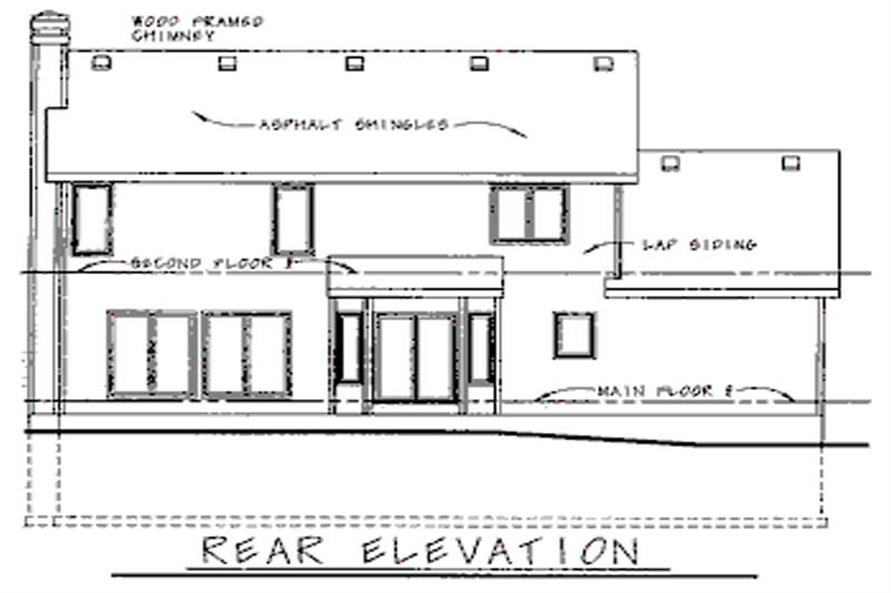 Home Plan Rear Elevation of this 3-Bedroom,1938 Sq Ft Plan -120-1879