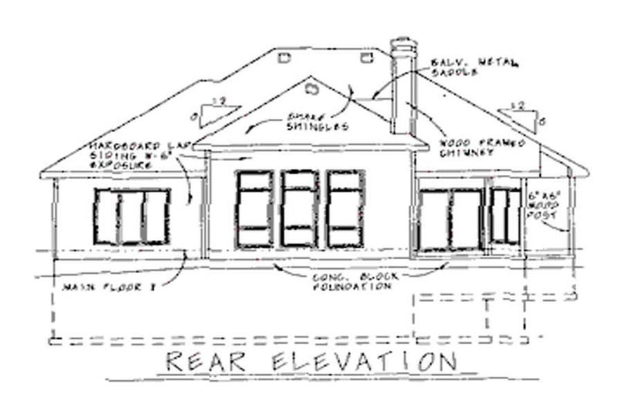 Home Plan Rear Elevation of this 2-Bedroom,1558 Sq Ft Plan -120-1882