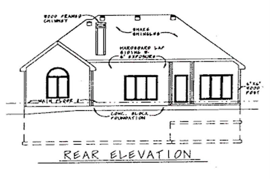 Home Plan Rear Elevation of this 3-Bedroom,1772 Sq Ft Plan -120-1883