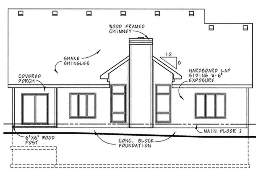 Home Plan Rear Elevation of this 3-Bedroom,1758 Sq Ft Plan -120-1890