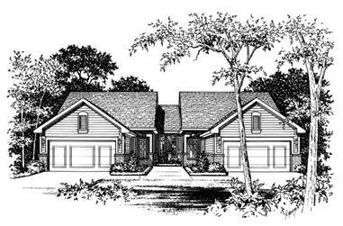 2-Bedroom, 1218 Sq Ft Multi-Unit Home Plan - 120-1892 - Main Exterior
