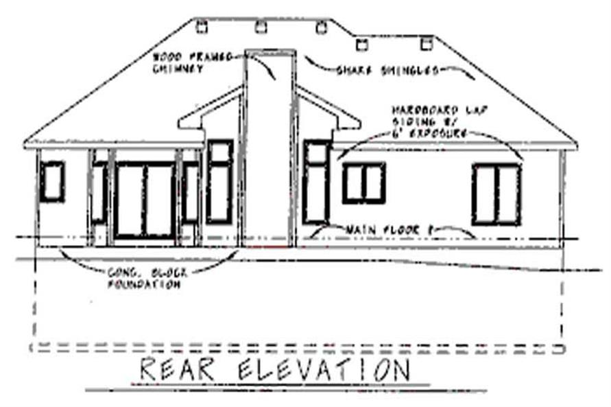 Home Plan Rear Elevation of this 3-Bedroom,1660 Sq Ft Plan -120-1894