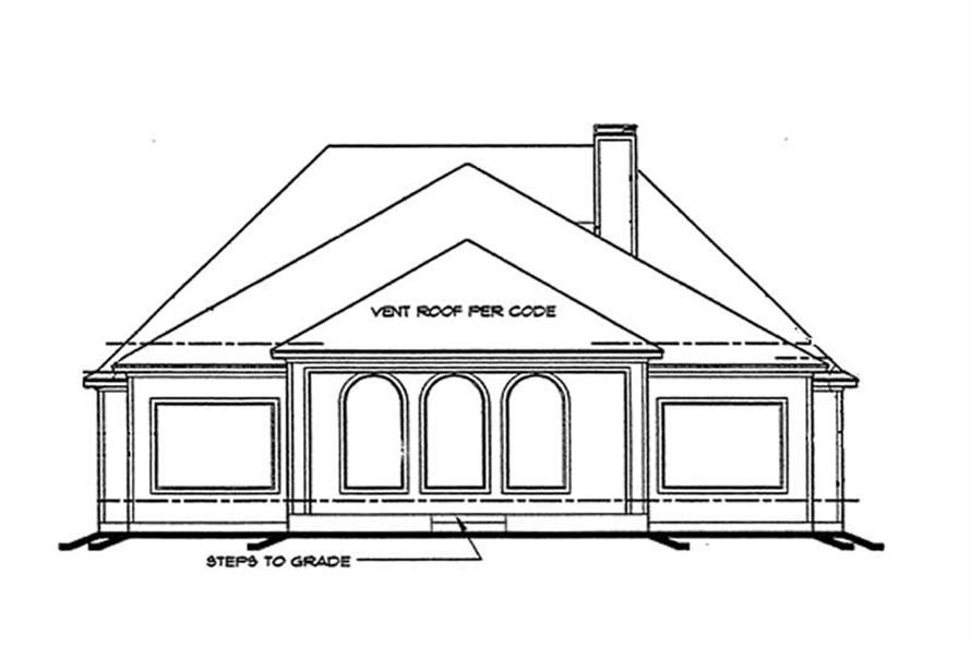 Home Plan Rear Elevation of this 3-Bedroom,2409 Sq Ft Plan -120-1896