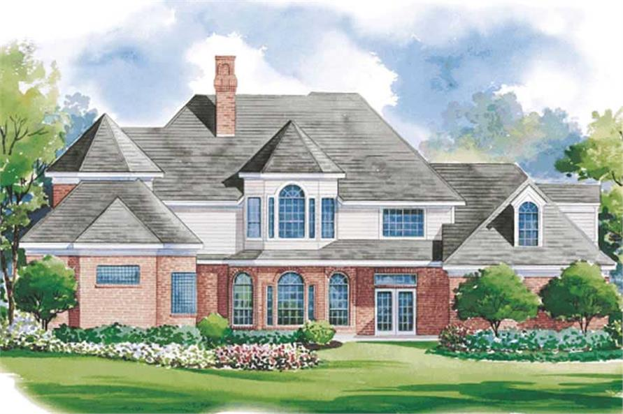 Home Plan Rear Elevation of this 4-Bedroom,3538 Sq Ft Plan -120-1897