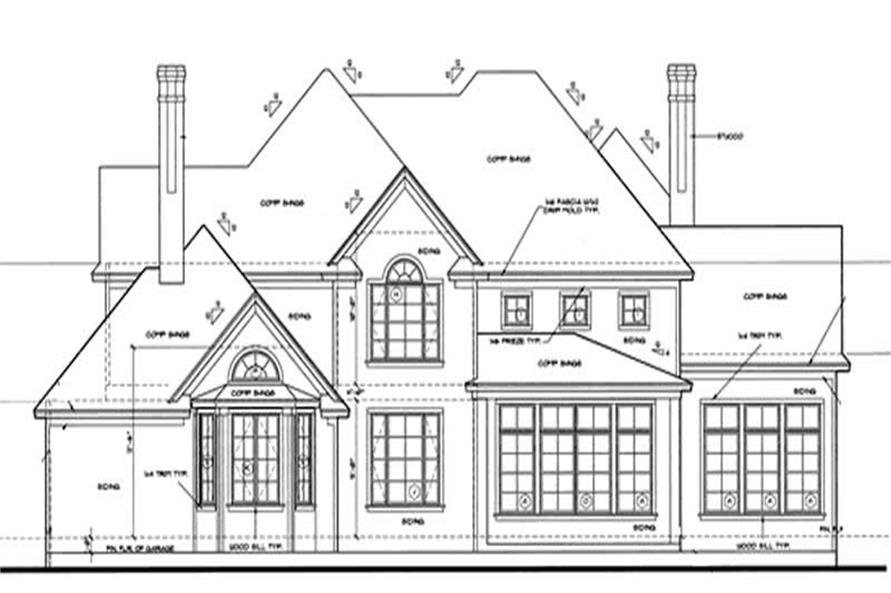 Home Plan Rear Elevation of this 4-Bedroom,2537 Sq Ft Plan -120-1909