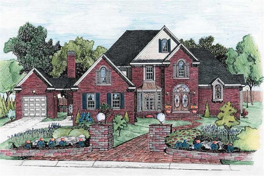 4-Bedroom, 3040 Sq Ft European House Plan - 120-1911 - Front Exterior