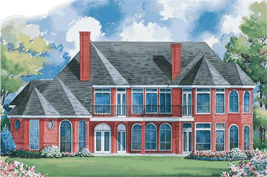 Home Plan Rear Elevation of this 4-Bedroom,4500 Sq Ft Plan -120-1915
