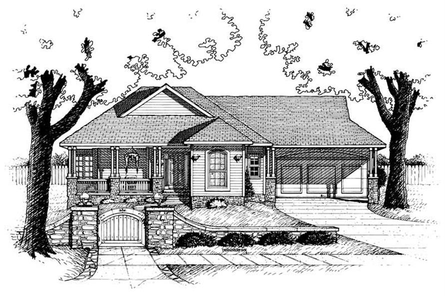1-Bedroom, 1385 Sq Ft Transitional Home Plan - 120-1927 - Main Exterior
