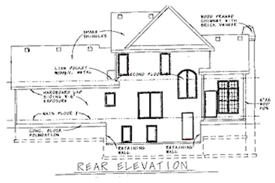 Home Plan Rear Elevation of this 3-Bedroom,1706 Sq Ft Plan -120-1930
