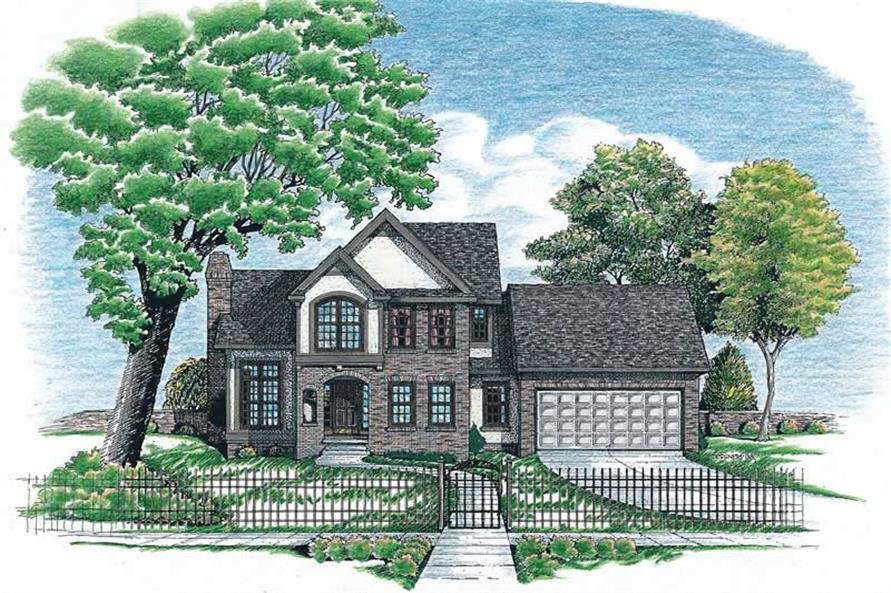 3-Bedroom, 1706 Sq Ft European House Plan - 120-1930 - Front Exterior