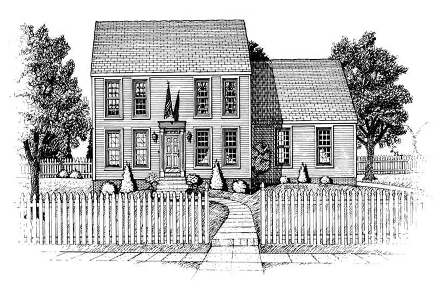 3-Bedroom, 1806 Sq Ft Colonial House Plan - 120-1940 - Front Exterior