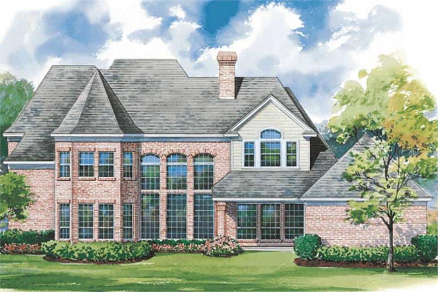 Home Plan Rear Elevation of this 4-Bedroom,3677 Sq Ft Plan -120-1943