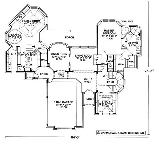 European House Plans - French Home Design Melbourne Court # 6456