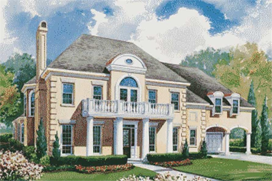 house plan #120-1954 : 4 bedroom, 4345 sq ft colonial - french home