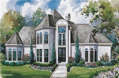 This image shows the front elevation of these French House Plans, European House Plans.